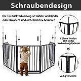 UISEBRT Kaminschutzgitter Baby 305cm - Stabil Faltbar Kinderschutzgitter mit Tür Schwarz Ofenschutzgitter Schutzgitter Laufgitter Türschutzgitter aus 5 element - 5