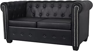 Festnight Luxurious Faux Leather 2-Seater Sofa Loveseat 57.3