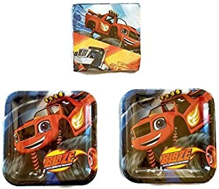"Disney Cars Blaze and Monster Machine Party Bundle 9"" Plates (16) Napkins (16)"