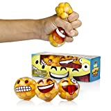 YoYa Toys DNA Emoticon Stress Balls Squeezing Stress Relief and Fidget Toy - 3 Different Popular Smiley Face - Risk-Free Sensory Toys for Autism, ADHD, Bad Habits and More - Pack of 3