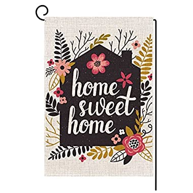 BLKWHT Home Sweet Home Garden Flag Vertical Double Sided Spring Summer Yard Outdoor Decorative 12.5 x 18 Inch