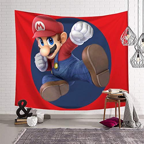Tapiz decorativo para sala de estar, diseño de Super Mario para paredes y dormitorio (130 x 150 cm)