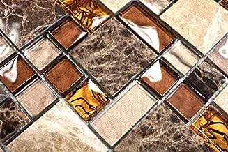 Mosaikfliese Transluzent Glasmosaik Crystal gold Struktur MOS120-0742/_m