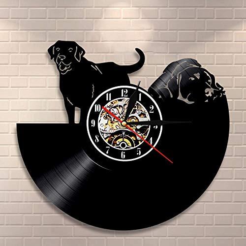 DJDLNK Black Puppy Pets CD Disc Wall Art Reloj De Pared Vintage Reloj De Pared Estilo Perrito Decoración para El Hogar Regalo para Amantes del Perro