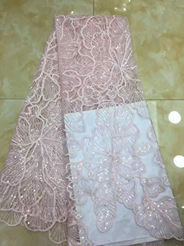 RUHUA Bud Silk Cloth Pailletten Bestickt Stoff Stoff Brautkleid Pailletten Stoff, Pink
