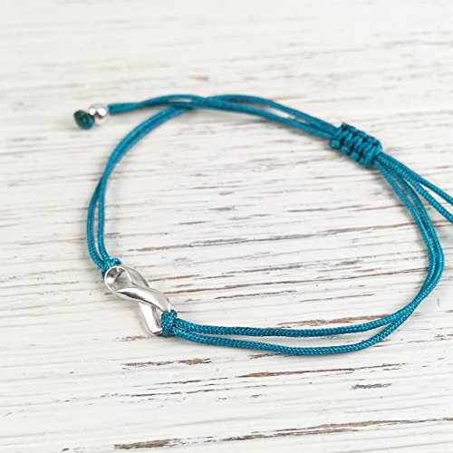Teal Thread Awareness Friendship Support Bracelet, Small Sterling Silver Ribbon Shaped Charm - Ovarian, Cervical, Uterine, Gynecological Cancer Aware. Adjustable Cord