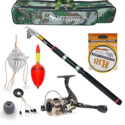 Out Topper Telescopic Fishing Rod Poles Kit,Travel Spin Spinning Rod and Reel Combos with Reel Line Lures Hooks Saltwater Fishing Pole