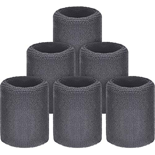 WILLBOND Sweatbands Wristbands for Football Basketball Running Athletic Sport Grey Pack of 6