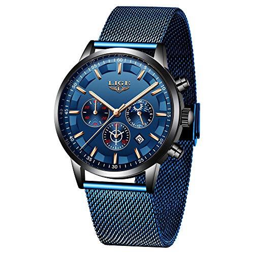 LIGE Herren Uhren Edelstahlgewebe Analoge Quarz Armbanduhr Lässige Mode wasserdichte Sportuhren für Herren