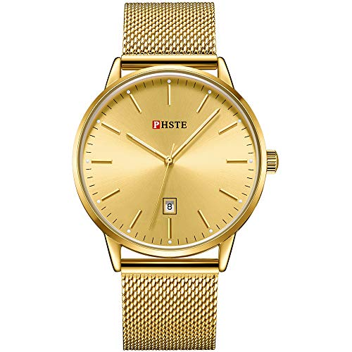 PHSTE Mens Watches 7.2mm Slim Simple Analog Quartz Date Luminous Waterproof Thin Face Gold Tone Steel Mesh Band Casual Dress Wrist Watch Male Golden Color Dial