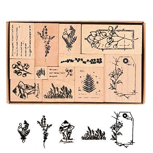 Holzstempel zum Basteln 12 Stück Hölzern Stempel Set Vintage-Stil Dekorative Stempel Stempel aus Holz mit Natur Pflanzen für Herstellung von Karten Kunsthandwerk DIY Scrapbooking Tagebuch Stempel