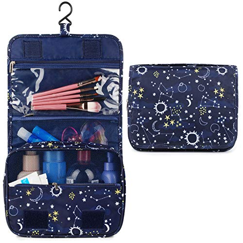 Hanging Travel Toiletry Bag Cosmetic Make up Organizer for Women and Girls Waterproof (Blue Galaxy)