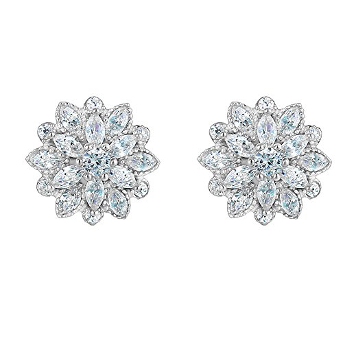 EleQueen 925 Sterling Silver Full Cubic Zirconia Bridal Flower Stud Earrings 15mm Clear.