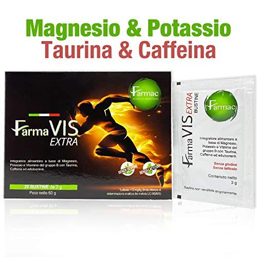 Farmac, Magnesio e Potassio con Caffeina, Taurina e Vitamina B1, B6, B12| Energia e Concentrazione immediate |20 bustine | Integratori Stanchezza | Potassio Magnesio | Pre workout |Integratore energia