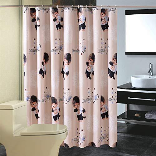 LGANY douchegordijn – met antivorm-haken voor de badkamer, gele beer patroongordijn met 14 ringen