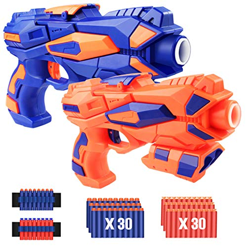 Greenke Blaster Gun Toy for Boys, 2 Pack Foam Bullet Toys Gun with 60pcs Refill Soft Foam Darts & 2 Wrist Bands Toys Party Supplies, Kids Easter Birthday Gifts for 4, 5, 6, 7, 8 Years Old