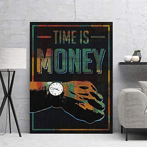 Blanriguelo Pinturas en Lienzo Cuadro Modular El Tiempo es Dinero Arte de Pared Reloj Decoración para el hogar Póster Impreso Moderno para Sala de Estar 23.6