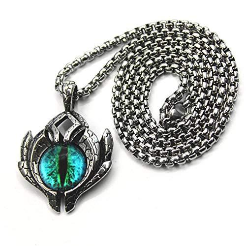YABEME Collar Colgante del Ojo Maligno de Los Hombres, Acero Inoxidable Vintage Griego Azul Dragón Ojo Etiqueta Demoníaco Amuleto, Ojo de Horus Antiguo Símbolo Egipcio de la Protección