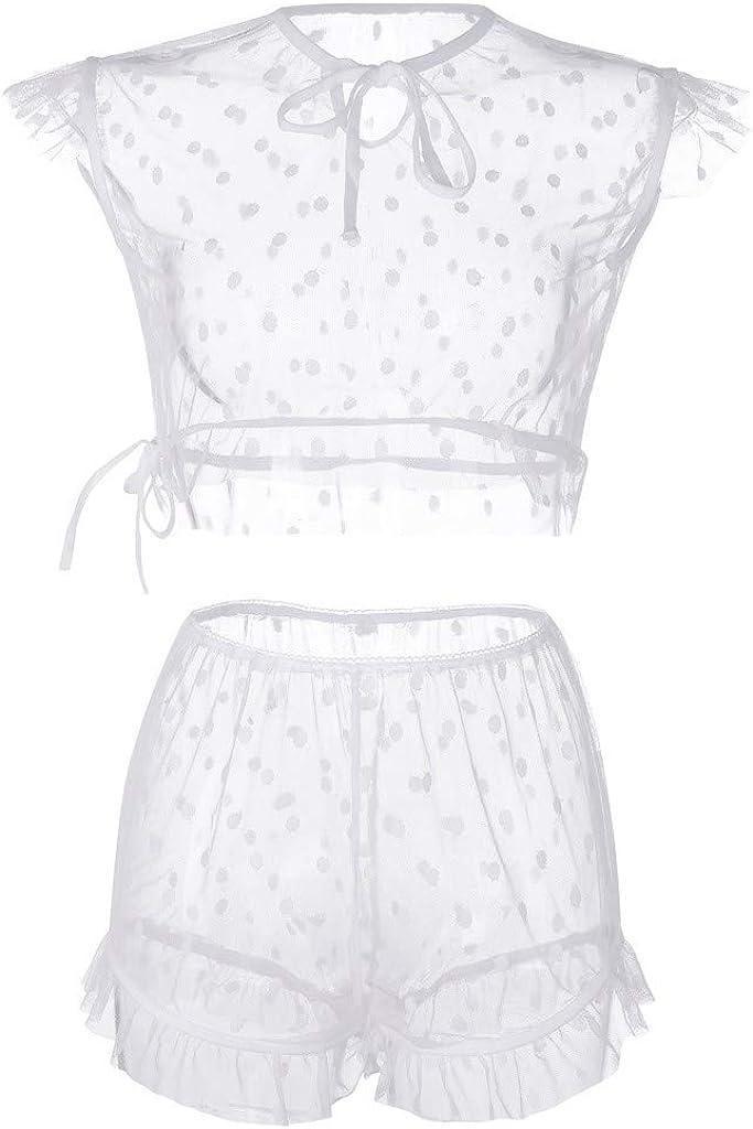 Gergeos Womens Polka Dot Mesh Tops + Shorts Pajamas Sets Sexy Sleepwear Nightwear