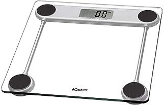 Bomann PW 1417 CB elektronisk personvåg med lättläst LCD-skärm, glasyta, 100 g steg, halkskyddsfötter