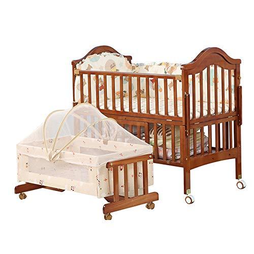 Kevin Bin Cuna para Bebé,Madera Pino Natural No TóXico Y Libre FormaldehíDo Almohadilla Suave para Dormir MultifuncióN Altura Ajustable