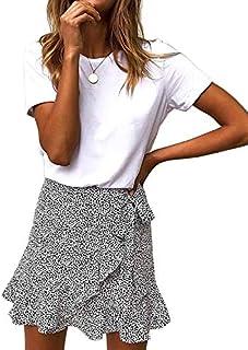 Salamola Women's Leopard Asymmetrical Ruffles High Waist Printed Cute Casual Mini Skirt
