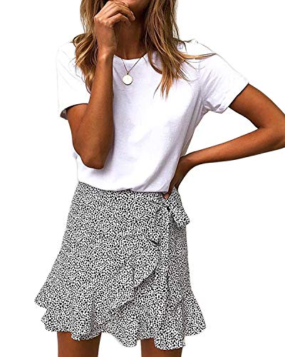 Salamola Women's Leopard Asymmetrical Ruffles High Waist Printed Cute Casual Mini Skirt(White,S)