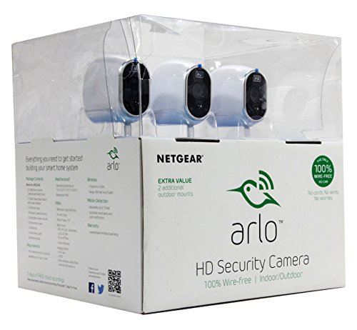Netgear Arlo Smart Home Security System w/ 3 HD Wire-Free Cameras & Night Vision