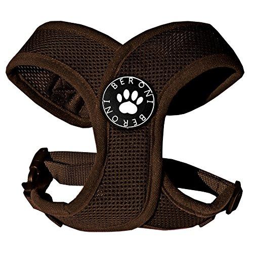 Softgeschirr Hundegeschirr Brustgeschirr XCross weich gepolstert verstellbar für kleine Hunde bis Mops braun Mesh S - L (S: (Brustumfang 31-41 cm))