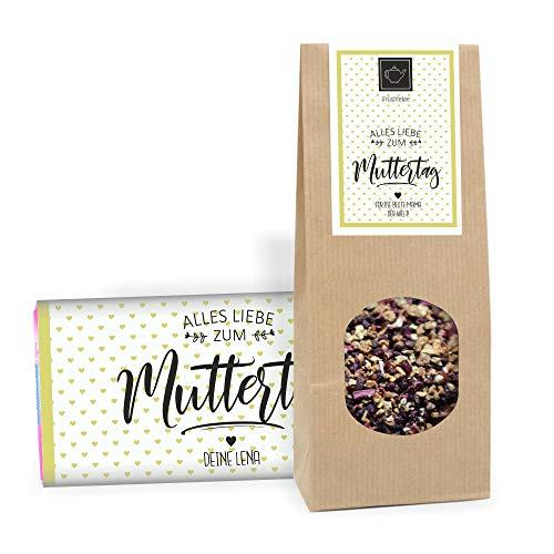 4youDesign Geschenk-Set zum Muttertag: Muttertags Tee und Schokolade Alles Liebe zum Muttertag mit Personalisierung | Muttertagsgeschenk für Mama Geschenkidee für die Mutter | Geschenk