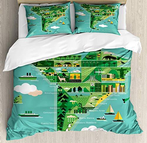 LnimioAOX Argentinien Bettwäscheset, Südamerika Karte mit Sehenswürdigkeiten Denkmäler und Attraktionen müssen Orte besuchen, dekorative 3-teilige Bettwäsche mit 2 Kissenbezügen, Mehrfarbig voll