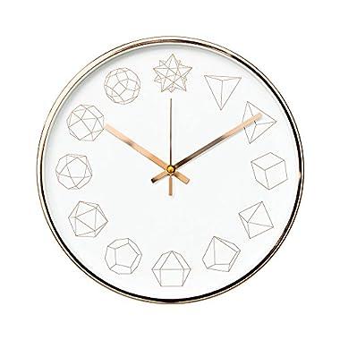 "Arospa Luxury Modern 12"" Silent Non-Ticking Wall Clock with Rose Gold Frame (Geometric White)"