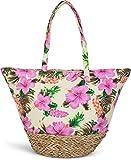 styleBREAKER Strandtasche mit Buntem Hibiskus Blüten Print, Bast am Boden und Reißverschluss,...