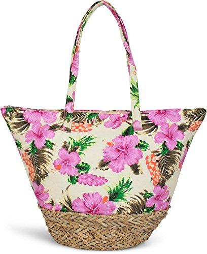 styleBREAKER strandtas met kleurrijke hibiscusbloemenprint, bast aan de onderkant en rits, schoudertas, shopper, dames 02012233, Farbe:Geel