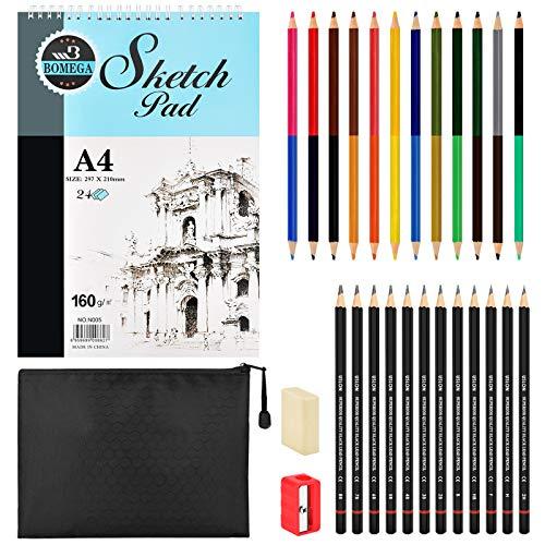Draw Sketch Pencils Set, 28er Pack, Sketchbook Zeichenstifte Dual Ended Farbstift Radiergummi Anspitzer Bleistift Tasche für Kinder Erwachsene und Kunstanfänger