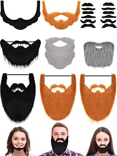 20 Pieces Fake Beard Set Halloween Funny Mustache Full Beard for Halloween Party Costume