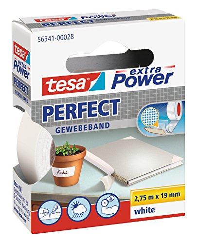 tesa extra Power Perfect Gewebeband - Gewebeverstärktes Ductape zum Basteln, Reparieren, Befestigen, Verstärken und Beschriften - Weiß - 2,75 m x 19 mm