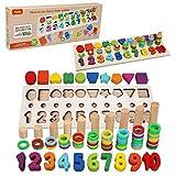 Felly Juguetes Educativos 1 2 3 años Niños, Juguetes de Madera Montessori Bebe Tablero de Conteo Números Apilamiento Clasificación Matemática Aprendizaje de Juegos, Regalo de cumpleaños Navidad