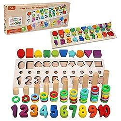 Felly Giochi Bambini 1 2 3 Anni, Giocattoli Educativi Montessori da Puzzle in Legno, Anelli impilabili per Imparare la Matematica Contare e Imparare i Colori, Giochi Educativo Set Regalo