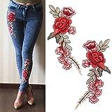 1 Bordadas Flor Par DIY Rose Parche Bordado de Flores Parches Cosa en Remiendo Applique para los Pantalones Vaqueros Pantalones