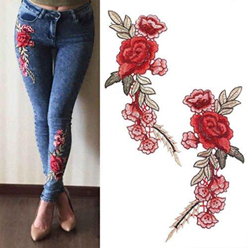 Dpolrs 1 Paire de Bricolage Rose Flower ecussons brodés Coudre Patch Applique pour Les Pantalons Jeans