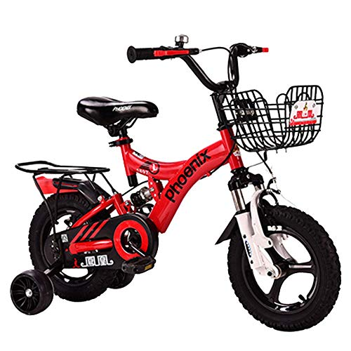 """Axdwfd Kids Bike Freestyle Kids' Bikes 12' 14' 16'18' Boys and Girls Bicycle with Rear Seat Children Cycling Suitable for Height 33"""" - 59"""" Bicycle (Color : Red, Size : 12in)"""