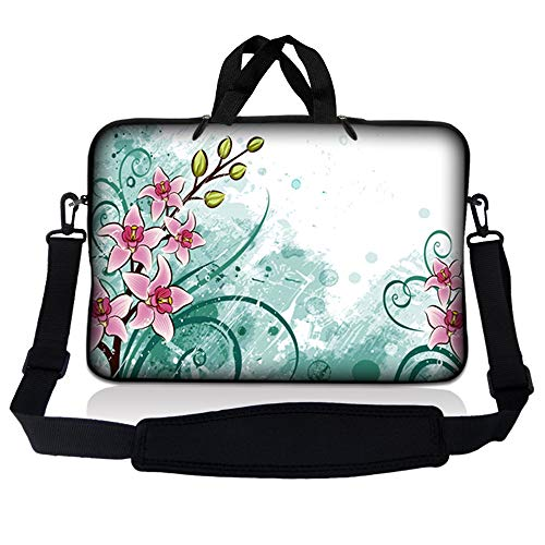 LSS 17 inch Laptop Sleeve Bag Carrying Case Pouch w/ Handle & Adjustable Shoulder Strap for 17.4' 17.3' 17' 16' Apple Macbook, GW, Acer, Asus, Dell, Hp, Sony, Toshiba, Pink Flower Floral