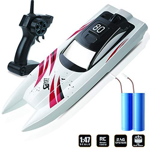 KOOWHEEL RC Boot, Ferngesteuertes Boot 2,4GHz Spielzeuge Über Langlebige wasserdichte für Kinder mit 2 Wiederaufladbare Akku, Geschenk