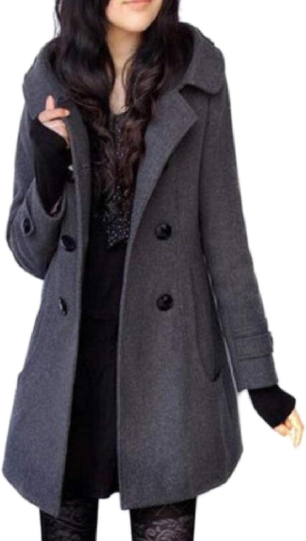 CBTLVSN Women's Slim Windbreaker DoubleBreasted Wool Blend Hood Pea Coat
