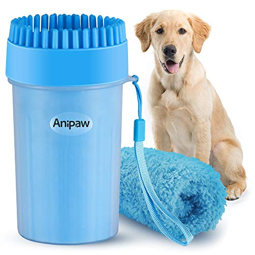 Dog Paw Cleaner, Anipaw Dog Paw Washer Cup with Towel Dog Cleaning Brush for Dogs /Cats, Silicone Pet Feet Cleaner for Muddy Paws