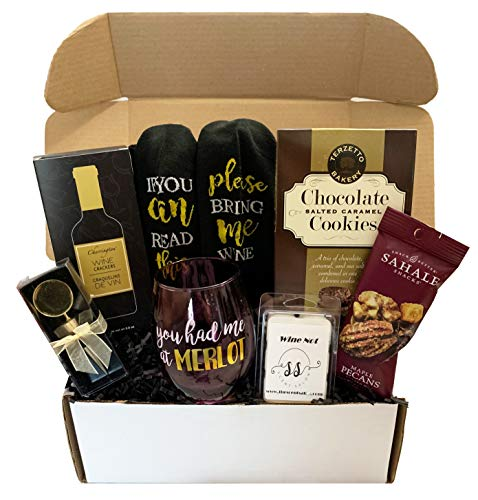 Wine Lovers Gift Box - Wine Gift Basket, Socks, Stemless Glass, Wine Snacks - Gifts for Him and Her (Merlot)
