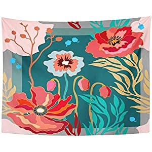 Autumn colors blooming poppies and silk scarves Abstract flowers 1950S1960S Motif retro collection Red tapestry Wall hanging 150cmX100cm