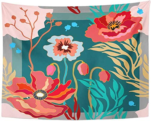 Bufanda de seda de colores otoñales con amapolas florecientes Resumen Floral 1950S 1960S Motivos Colección Retro Tapiz rojo Colgante de pared 150x200cm