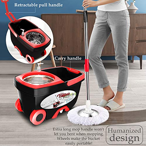 Spin Mop Bucket Floor Cleaning - Tsmine Mop and Bucket with Wringer Set Commercial Spinning Mopping Bucket Cleaning Supplies with 6 Replacement Refills,61